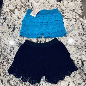 Justice and Boutique lace shorts ~size 5/6
